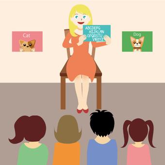英語對話老師和孩子