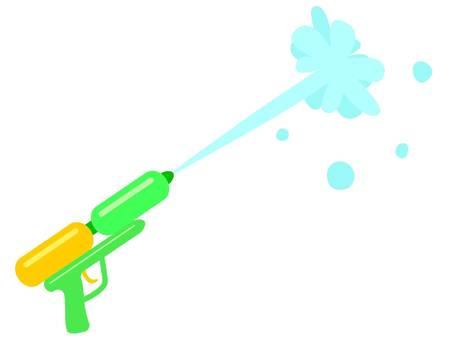 從玩具水槍中出來的水的插圖