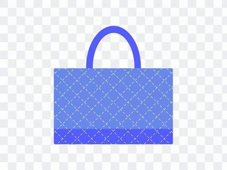 課袋絎縫藍色
