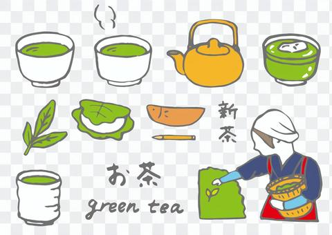 緑茶のイラストセット