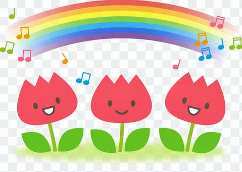 Rainbow and tulip