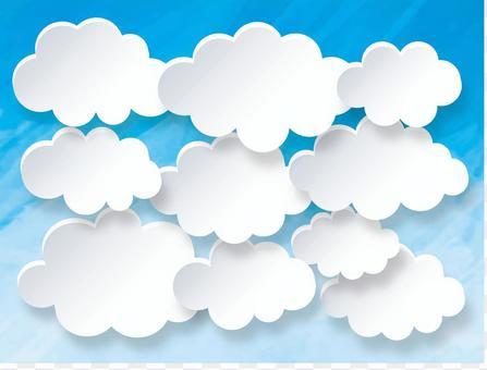 雲集合背景水彩色立體聲