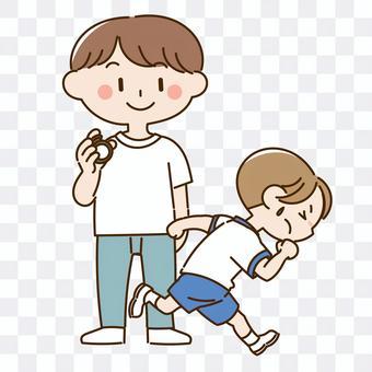 通過測量身體素質跑的男孩的插圖