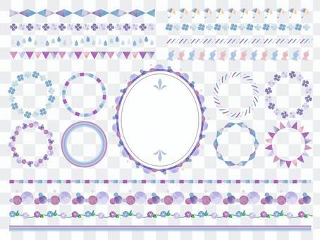 水彩風格筆刷套裝/雨季/藍紫色