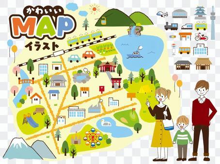 Cute map material illustrations