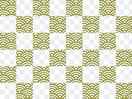 【和柄×和柄】市松×青海波:金
