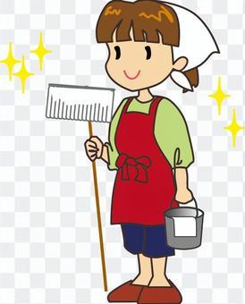 掃除の女性