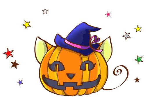 Cat-shaped Halloween pumpkin and stars