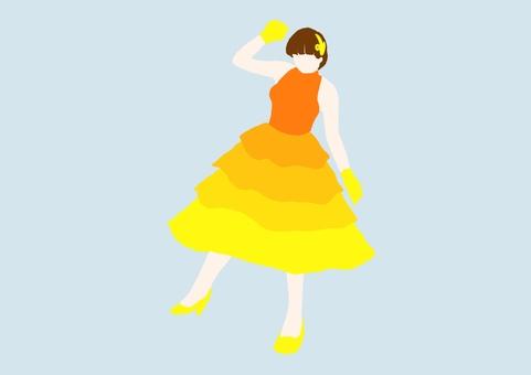 成年女孩-彩色剪影-連衣裙黃色