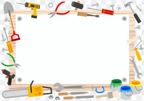 看板と工具 フレーム(白紙)