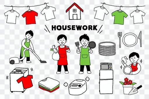 男子準備做家務(簡單)