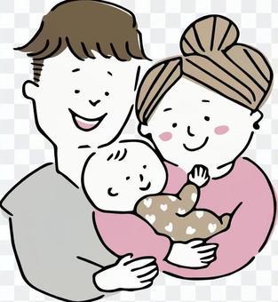 抱著嬰兒的三口之家