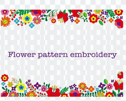 Flower embroidered frame