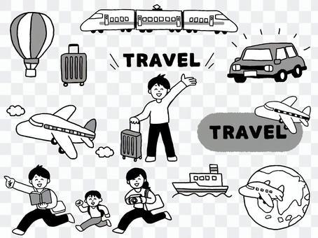 旅行セットモノクロ(シンプル)