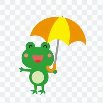黄色い傘を持つ蛙