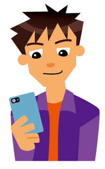 一個人用智能手機