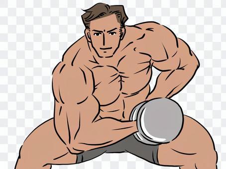 肌肉發達的健美運動員