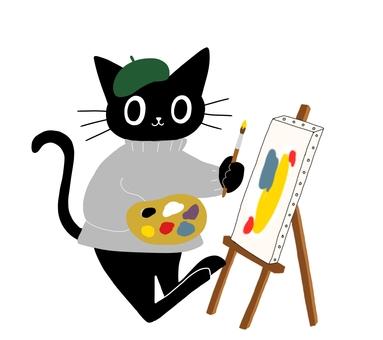 예술적인 검은 고양이