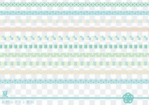 夏季彩色日本花紋線條材料套裝