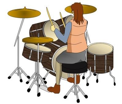 Drummer female rear figure 2