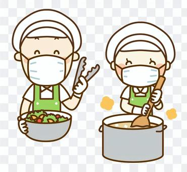 Cook male and female staff