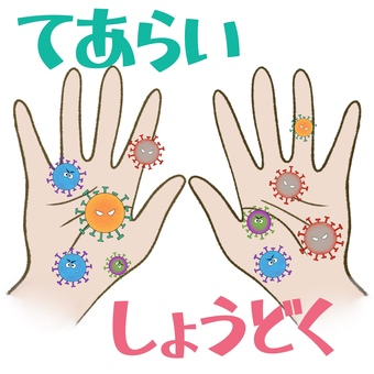 Hand wash disinfection Hiragana poster