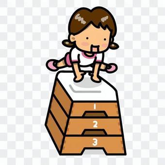 女孩飛行跳躍框