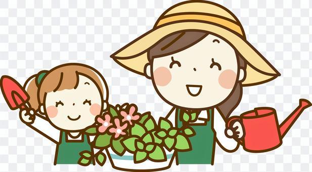 父母和孩子從事園藝