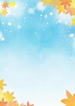 Watercolor illustration 09 (maple blue sky background vertical)
