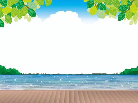 岸上的甲板(3)夏季新鮮綠色