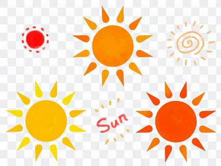 塗鴉風格的太陽落山