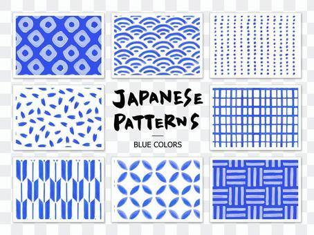 手繪日本花紋無縫花紋(藍色)
