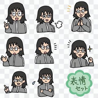 老師,情感,面部,表情集,小學老師