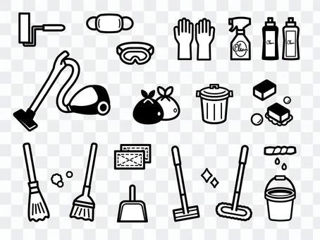 清潔工具插圖集單色