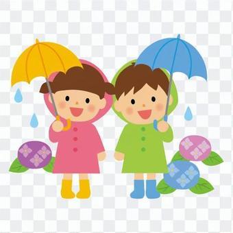 男孩和女孩在雨中