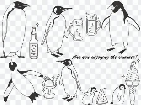 Penguins and summer material set