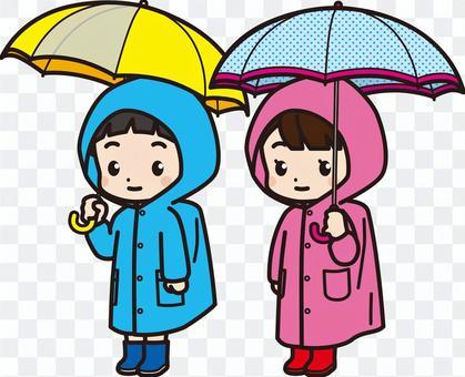 小學男孩和女孩_雨衣和雨傘