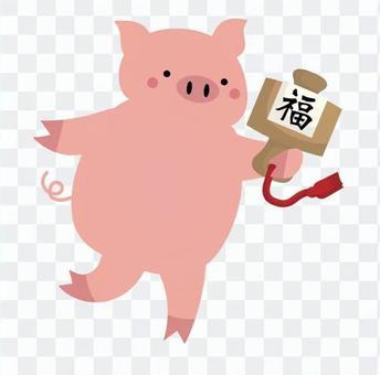 木槌和粉紅豬