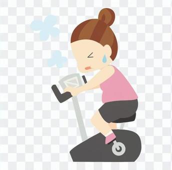 飲食 - 騎固定自行車胖乎乎的類型的女人