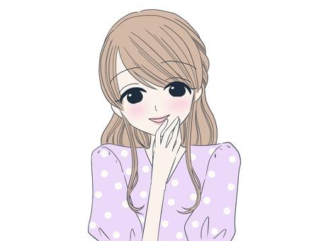 부드러운 미소의 여성 (보라색)