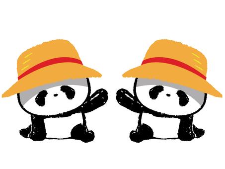 Child Panda-I wore a straw hat