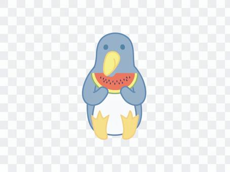 西瓜を食べるペンギン