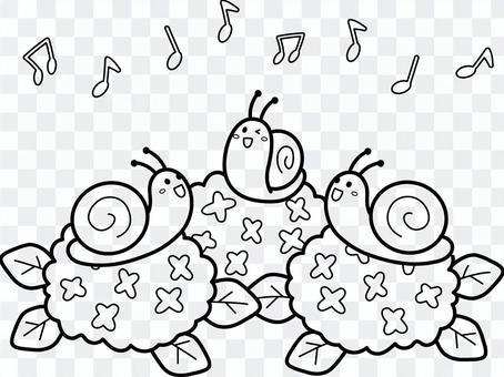 蝸牛在繡球上唱一首歌為著色
