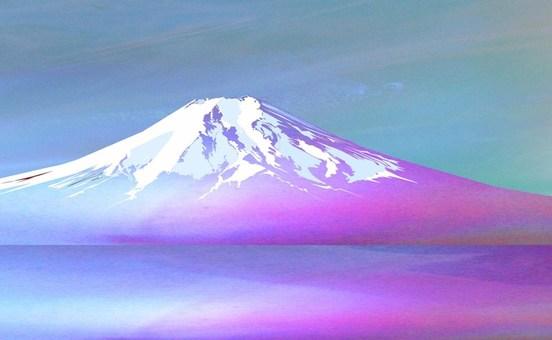 富士溫和的冬天的晨霧