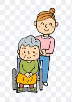 輪椅奶奶和幫手