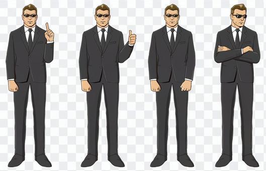黑衣男人·老闆,矢量故事