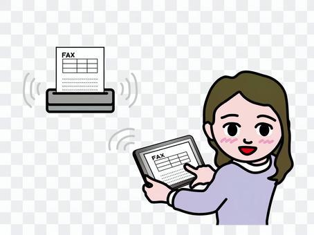 Girls receiving a tablet fax