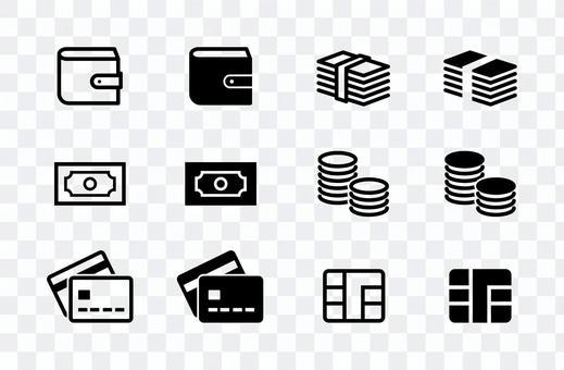 錢包,錢,信用卡圖標