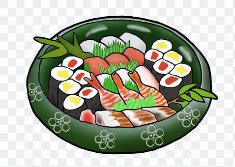 にぎりと細巻き寿司三人前桶