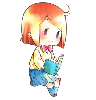 Girl reading a book (mini character)